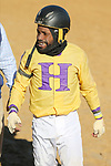 January 22, 2021: Jockey Rocco Bowen after the fifth race at Oaklawn Racing Casino Resort in Hot Springs, Arkansas on January 22, 2021. Justin Manning/Eclipse Sportswire/CSM