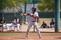 AZL Indians Red Cesar Idrogo (17) at bat during an Arizona League game against the AZL Indians Blue on July 7, 2019 at the Cleveland Indians Spring Training Complex in Goodyear, Arizona. The AZL Indians Blue defeated the AZL Indians Red 5-4. (Zachary Lucy/Four Seam Images)