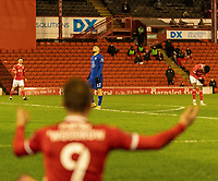 11th February 2021; Oakwell Stadium, Barnsley, Yorkshire, England; English FA Cup 5th round Football, Barnsley FC versus Chelsea; Mateo Kovavic of Chelsea in view with Cauley Woodrow of Barnsley raising his arms