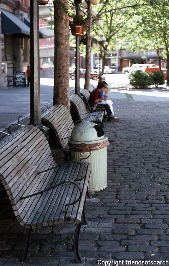 Seattle: Street furniture--Pioneer Square.  Photo '86.