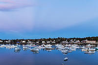 Charming fishing village at dusk, Bass Harbor, Maine, USA