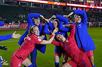 CARSON, CA - FEBRUARY 7: Lindsey Horan #9, Becky Sauerbrunn #4, Abby Dahlkemper #7, Becky Sauerbrunn #4, and Kelley O'Hara #5 of the United States form the Olympic rings during a game between Mexico and USWNT at Dignity Health Sports Park on February 7, 2020 in Carson, California.