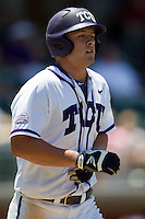 Outfielder Jerrick Suiter #31 of the Texas Christian University Horned Frogs heads to first base after getting hit by a pitch during the NCAA Regional baseball game against the Ole Miss Rebels on June 1, 2012 at Blue Bell Park in College Station, Texas. Ole Miss defeated TCU 6-2. (Andrew Woolley/Four Seam Images).