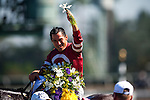 Jockey, Corey Nakatani celebrates after winning the Breeders' Cup Dirt Mile at Santa Anita Park in Arcadia, California on November 3, 2012.