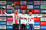 Silver medal for Stefan Bissegger of Switzerland, Gold for Samuele Battistella of Italy and Bronze for Thomas Pidcock of Great Britain on the podium at the end of the Men U23 Road Race of the UCI World Championships 2019 running 186.9km from Doncaster to Harrogate, England. 27th September 2019.<br /> Picture: Alex Whitehead/SWpix.com | Cyclefile<br /> <br /> All photos usage must carry mandatory copyright credit (© Cyclefile | Alex Whitehead/SWpix.com)
