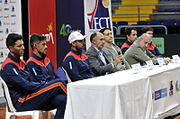 BOGOTA-COLOMBIA, 28-02-2020: Carlos Salamanca, Asistente Tecnico; Cristian Rodriguez, Deportista; Alejandro Falla, Capitan, David Samudio, Presidente de la Federacion Colombiana de Tenis; Javier Suares, Subdirector Tecnico de Parques del IDRD; Ignacio Correa, Presidente de Colsanitas, Daniel Galan, Deportista y Alejandro Gonzalez, Deportista;durante la entrega de la adecuación de la cancha de polvo de ladrillo en el Palacio de los Deportes, en donde se disputaran Las clasificatorias Copa Davis by Rakuten 2020 entre Colombia y Argentina en marzo 6 y 7 de 2020. / Carlos Salamanca, Technical Assistant; Cristian Rodriguez, Sportsman; Alejandro Falla, Captain, David Samudio, President of the Colombian Tennis Federation; Javier Suares, Technical Deputy Director of Parks of IDRD; Ignacio Correa, President of Colsanitas, Daniel Galan, Sportsman and Alejandro Gonzalez, Sportsman; during the delivery of the adaptation of the brick dust court at the Palacio de los Deportes, where the Davis Cup by Rakuten 2020 qualifiers will be played between Colombia and Argentina on March 6 and 7 of 2020./ Photo: VizzorImage / Luis Ramirez / Staff.