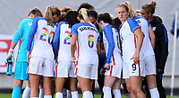 Sandefjord, Norway - June 11, 2017: Lindsey Horan and the USWNT huddle during their game vs Norway in an international friendly at Komplett Arena.