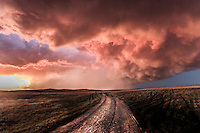Orange thunderstorm at sunset in Montana, May 18, 2014