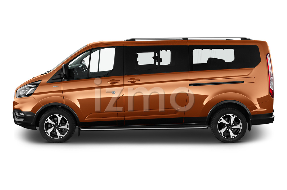 Car Driver side profile view of a 2021 Ford Tourneo-Custom Active 5 Door Passenger Van Side View