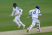 Liam Dawson (L) and Michael Carberry add to the Hampshire total during Essex CCC vs Hampshire CCC, Specsavers County Championship Division 1 Cricket at The Cloudfm County Ground on 20th May 2017