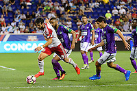 Harrison, NJ - Wednesday Aug. 03, 2016: Felipe Martins, Manfred Russell, Jose Pinto Samayoa during a CONCACAF Champions League match between the New York Red Bulls and Antigua at Red Bull Arena.