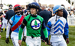 MAY 15, 2021: David Cohen, Ricardo Santana Jr. and John Velazquez before the Preakness Stakes at Pimlico Racecourse in Baltimore, Maryland on May 15, 2021. EversEclipse Sportswire/CSM