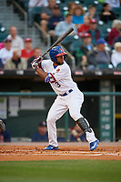 Buffalo Bisons designated hitter Teoscar Hernandez (3) bats during a game against the Pawtucket Red Sox on August 31, 2017 at Coca-Cola Field in Buffalo, New York.  Buffalo defeated Pawtucket 4-2.  (Mike Janes/Four Seam Images)