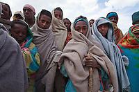 Amhara people in queue to get US aid in Debre Ethiopia