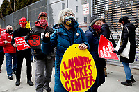 NEW YORK, NEW YORK - MARCH 06: A woman shouts slogans during a demonstration in support of woman workers on March 06, 2021 in New York. (Photo by John Smith/VIEWpress)