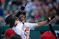 Indianapolis Indians second baseman Kevin Kramer (17) is congratulated by teammates after hitting his first home run of the season during an International League game against the Columbus Clippers on April 29, 2019 at Victory Field in Indianapolis, Indiana. Indianapolis defeated Columbus 5-3. (Zachary Lucy/Four Seam Images)