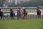 June 29,2014:Gold Ship,ridden by Norihiro Yokoyama,(grey horse)wins the Takarazuka Kinen at Hanshin in Hyogo,Japan. Kazushi Ishida/ESW/CSM