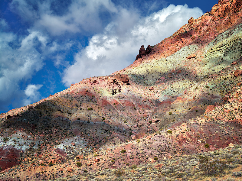Colorful rock formation off Titus Canyon Road. Death Valley National Park, California
