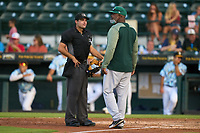 Daytona Tortugas manager Gookie Dawkins (44) argues a call with umpire Joe McCarthy during a game against the Bradenton Marauders on June 12, 2021 at LECOM Park in Bradenton, Florida.  (Mike Janes/Four Seam Images)