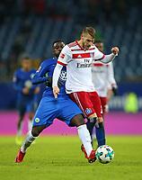 09.12.2017, Football 1. Bundesliga 2017/2018, 15.  match day, Hamburger SV - VfL Wolfsburg, Volksparkstadium Hamburg.  Paul-Georges Ntep (Wolfsburg)  -  Aaron Hunt (Hamburg)  *** Local Caption *** © pixathlon<br /> <br /> +++ NED + SUI out !!! +++<br /> Contact: +49-40-22 63 02 60 , info@pixathlon.de