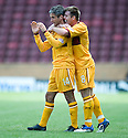 ::  MOTHERWELL'S KEITH LASLEY  IS CONGRATULATED BY STEVEN JENNINGS AFTER HE SCORES THE THIRD   ::