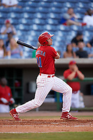Clearwater Threshers first baseman Damek Tomscha (21) follows through on a swing during a game against the Palm Beach Cardinals on April 14, 2017 at Spectrum Field in Clearwater, Florida.  Clearwater defeated Palm Beach 6-2.  (Mike Janes/Four Seam Images)