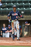 Reggie Crawford (64) (UCONN) of Team Stripes during a game against Team Stars on July 6, 2021 at Pioneer Park in Greeneville, Tennessee. (Tracy Proffitt/Four Seam Images)