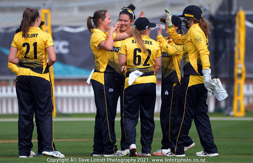 Amelia Kerr celebrates a wicket during the Hallyburton Johnstone Shield women's cricket match between Wellington Blaze and Otago Sparks at the Basin Reserve in Wellington, New Zealand on Saturday, 13 March 2021. Photo: Dave Lintott / lintottphoto.co.nz