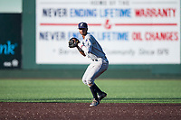 Tri-City Dust Devils shortstop Kelvin Alarcon (1) prepares to make a throw to first base during a Northwest League game against the Everett AquaSox at Everett Memorial Stadium on September 3, 2018 in Everett, Washington. The Everett AquaSox defeated the Tri-City Dust Devils by a score of 8-3. (Zachary Lucy/Four Seam Images)