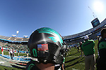 DENTON, TX  JANUARY 1:  A detailed view of the Mean Green football helmet before the start of the game against the UNLV Rebels during the Heart of Dallas Bowl at Cotton Bowl Stadium in Dallas on January 1, 2014 in Dallas, TX.  Photo by Rick Yeatts North Texas won 36-14 over UNLV.