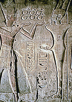The Mortuary Temple of Ramesses III at Medinet Habu--inscribed relief, details. Luxor, Egypt