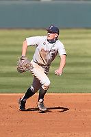 Caden Connor (5) of the Cal State Fullerton Titans during a game against the UCLA Bruins at Jackie Robinson Stadium on March 6, 2021 in Los Angeles, California. UCLA defeated Cal State Fullerton, 6-1. (Larry Goren/Four Seam Images)