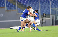 31st October 2020, Olimpico Stadium, Rome, Italy; Six Nations International Rugby Union, Italy versus England; Henry Slade (England) runs into the double tackle