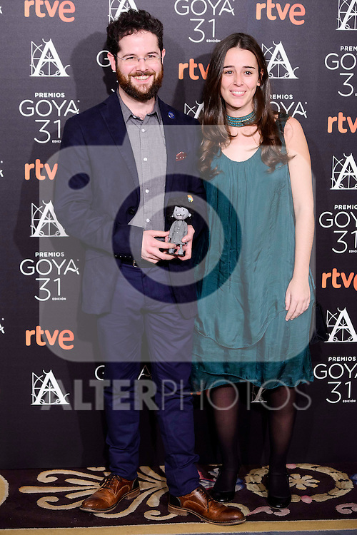 David Castro Gonzalez and Valle Comba attends to the 2017 Goya Awards Candidates Cocktail at Ritz Hotel in Madrid, Spain. January 12, 2017. (ALTERPHOTOS/BorjaB.Hojas)