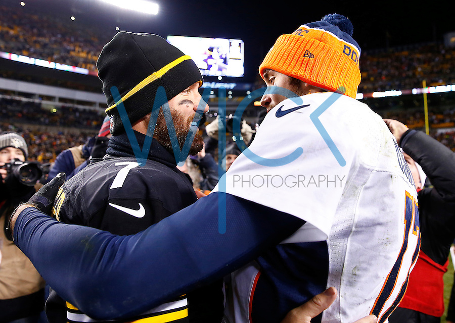 Ben Roethlisberger #7 of the Pittsburgh Steelers shakes hands with Brock Osweiler #17 of the Denver Broncos following the game at Heinz Field on December 20, 2015 in Pittsburgh, Pennsylvania. (Photo by Jared Wickerham/DKPittsburghSports)