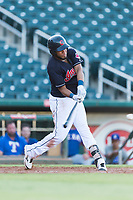 AZL Indians 1 left fielder Cristopher Cespedes (38) swings at a pitch during an Arizona League playoff game against the AZL Rangers at Goodyear Ballpark on August 28, 2018 in Goodyear, Arizona. The AZL Rangers defeated the AZL Indians 1 7-4. (Zachary Lucy/Four Seam Images)