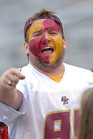A Boston College football fan makes some noise prior to the start of the ACC match up between the Boston College Eagles and the Wake Forest Demon Deacons at Alumni Stadium in Chestnut Hill, Massachusetts on October 1, 2011.Photo By Ken Babbitt/Four Seam Images