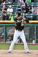 Brennan Boesch (24) of the Salt Lake Bees at bat against the Las Vegas 51s at Smith's Ballpark on May 8, 2014 in Salt Lake City, Utah.  (Stephen Smith/Four Seam Images)