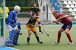 v.li.: Anton Brinckman (Torwart, HTHC, 18), Oliver Kern (HTHC, 5), Tim Seagon (MHC, 17), Zweikampf, Spielszene, Duell, duel, tackle, tackling, Dynamik, Action, Aktion, 01.05.2021, Mannheim  (Deutschland), Hockey, Deutsche Meisterschaft, Viertelfinale, Herren, Mannheimer HC - Harvestehuder THC <br /> <br /> Foto © PIX-Sportfotos *** Foto ist honorarpflichtig! *** Auf Anfrage in hoeherer Qualitaet/Aufloesung. Belegexemplar erbeten. Veroeffentlichung ausschliesslich fuer journalistisch-publizistische Zwecke. For editorial use only.