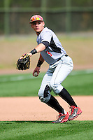 University of Hartford Hawks third baseman TJ Ward (3) makes a throw to first base prior to a game versus the Boston College Eagles at Pellagrini Diamond at Shea Field on May 9, 2015 in Chestnut Hill, Massachusetts.  (Ken Babbitt/Four Seam Images)