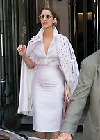 June 20, PARIS, FRANCE : Singer Celine Dion leaves the Royal Monceau Hotel on Avenue Hoche