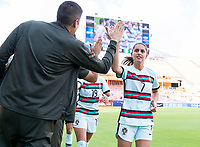 HOUSTON, TX - JUNE 13: Francisca Nazareth #7 of Portugal high fives Neto Francisco before a game between Nigeria and Portugal at BBVA Stadium on June 13, 2021 in Houston, Texas.