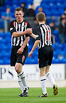 St Johnstone v Dunfermline... 13.08.11   SPL Week 4.Martin Hardie celebrates with Paul Burns at full time.Picture by Graeme Hart..Copyright Perthshire Picture Agency.Tel: 01738 623350  Mobile: 07990 594431