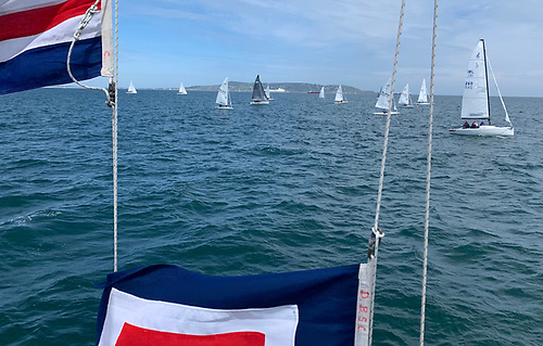 (Above and below) the DBSC green fleet tribute to the late DBSC Race Official Carmel Winkelmann