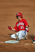 Auburn Doubledays first baseman David Kerian (21) slides into third during a game against the Batavia Muckdogs on September 7, 2015 at Falcon Park in Auburn, New York.  Auburn defeated Batavia 11-10 in ten innings.  (Mike Janes/Four Seam Images)