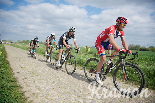 Thor Hushovd (NOR/BMC), Tom Boonen (BEL/OPQS), Bert De Backer (BEL/Giant-Shimano), Geraint Thomas (GBR/SKY) & 2 more try to stay ahead of the storming peloton behind them<br /> <br /> Paris-Roubaix 2014