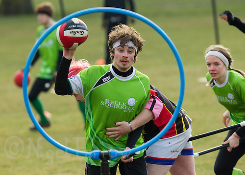 08 MAR 2015 - NOTTINGHAM, GBR - A Keele Squirrels player shoots during the 2015 British Quidditch Cup match against Reading Rocs at Woollaton Hall and Deer Park in Nottingham, Great Britain (PHOTO COPYRIGHT © 2015 NIGEL FARROW, ALL RIGHTS RESERVED)