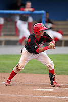 Batavia Muckdogs catcher Juan Castillo during the first game of a double header vs. the Williamsport Crosscutters at Dwyer Stadium in Batavia, New York;  August 25, 2010.   Batavia defeated Williamsport 4-3.  Photo By Mike Janes/Four Seam Images