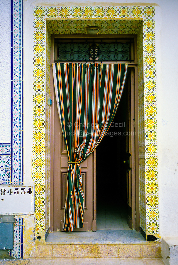 Ceramics, Nabeul, Tunisia.  Tiles Outline Entrance to Private Home.