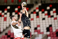 26 February 2021; Rhys Davies wins this lineout during the Guinness PRO14 match between Ulster and Ospreys at Kingspan Stadium in Belfast. Photo by John Dickson/Dicksondigital